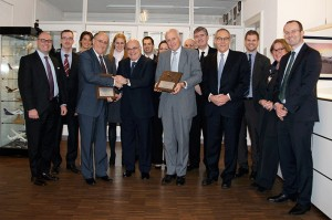 Left to Right: Mr. Hugh Flynn (CEO ASL) accept the keys to the Farnair Group from Mr. Vicken Karjian (outgoing Chairman of Farnair) in Basel with Mr. Ludwig Criel (Chairman of ASL)