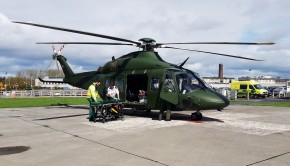 AW-139 delivers a patient to Galway University Hospital