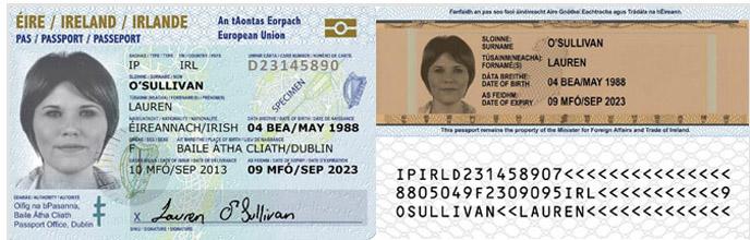 Sample passport card