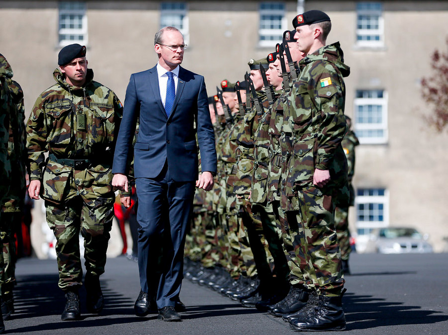 Minister Coveney reviews the 49 Inf Gp