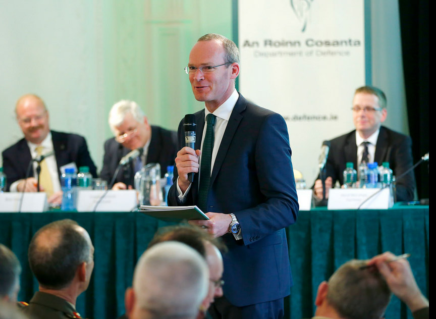 Minister Coveney speaking at the symposium on the White Paper on Defence