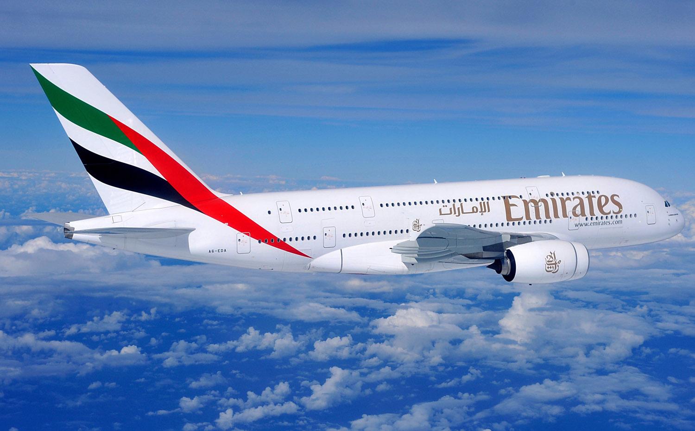 Emirates A380 in flight