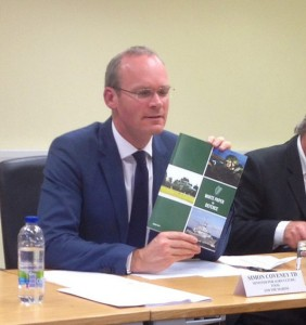 Minister Coveney at the Budget 16 Press Conference (GIS)