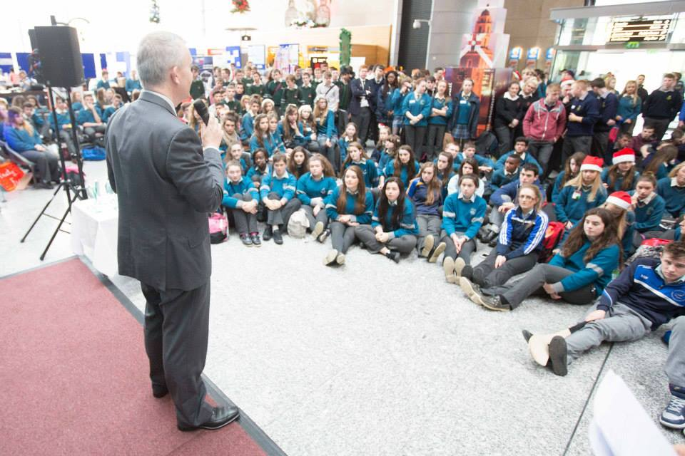 Kevin Cullinanae, Cork Airports Director of Communications speaking at the Christmas Trade Fair