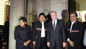 Minister  Charlie Flanagan with Evo Morales the President of Bolivia,