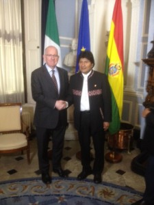 Minister  Charlie Flanagan with the President of Bolivia, Evo Morales,