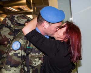 UNIFIL rotation this solider receives a warm welcome