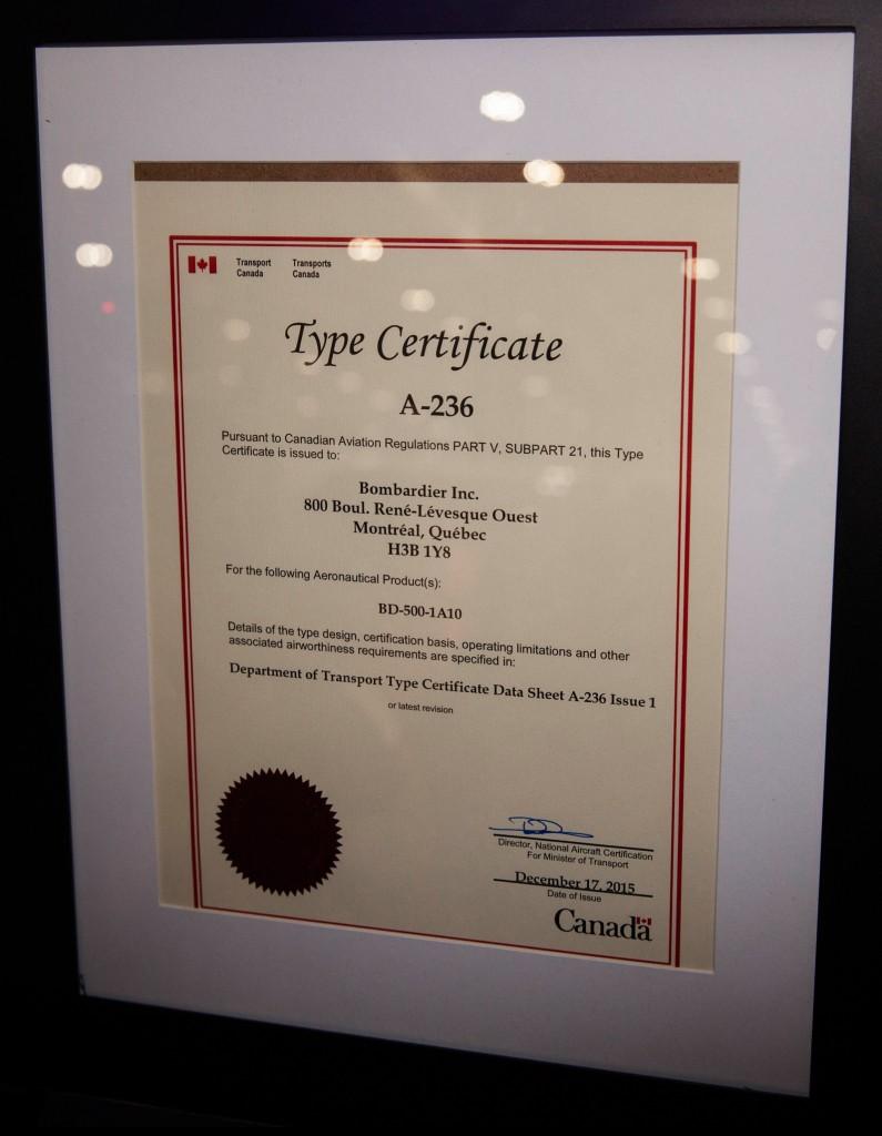 Bombardier CS100 certificate
