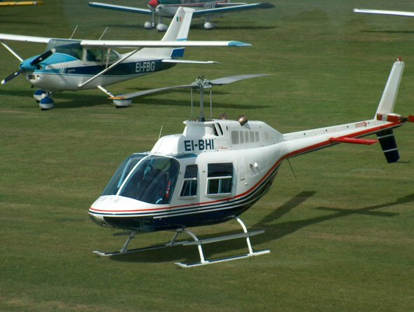 Bell 206 EI-BHI has been cancelled from the register and withdrawn from use. Photo by Mark Dwyer