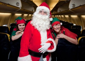 Christmas cheer will be at its loudest and most excited over the next two Saturdays and Sundays as over 3,000 children will be on board FREE Ryanair flights in a magical gift from the airline and airport. The initiative, which is to mark the airline's eight new routes - Berlin, Paris, Fuerteventura, Warsaw, Faro, Munich, Nice and Krakow – to their existing ten at Shannon from March next and the end of a successful first year for Shannon as an independent entity, has proven hugely popular with the seats oversubscribed three-times over within hours of the offer being publicised on Tuesday. The children will get to meet Santa 15,000 ft above sea level on board the 30-40 minute 'fly-overs' as well as enjoy the pre-flight party atmosphere at the airport, which will include the presence of elves and other Christmas and cartoon characters to meet, greet and entertain the excited young guests, as well as musical entertainment from a range of artists, including the critically acclaimed Hermitage Green over the four days. Pictured onboard at Shannon Airport with Santa Claus are his Elves Jeanette McKee and Fran Minter.Pic Arthur Ellis.