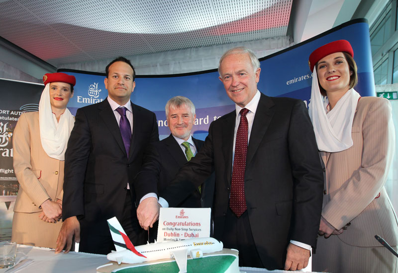 Emirates launch (Declan Collier, chief executive, DAA ;Irish Minister for Transport, Tourism and Sport, Leo Varadkar TD ; Tim Clark, President Emirates Airlines)