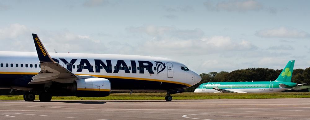 Cork Airport - aircraft taxing to the main runway