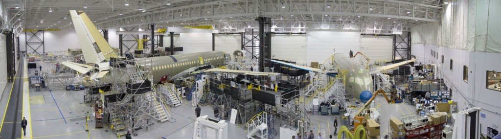 bombardier facility with fuselage of the first CS300 test aircraft & production aircraft 1