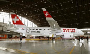 Bombardier CSeries in SWISS colours visits Zurich