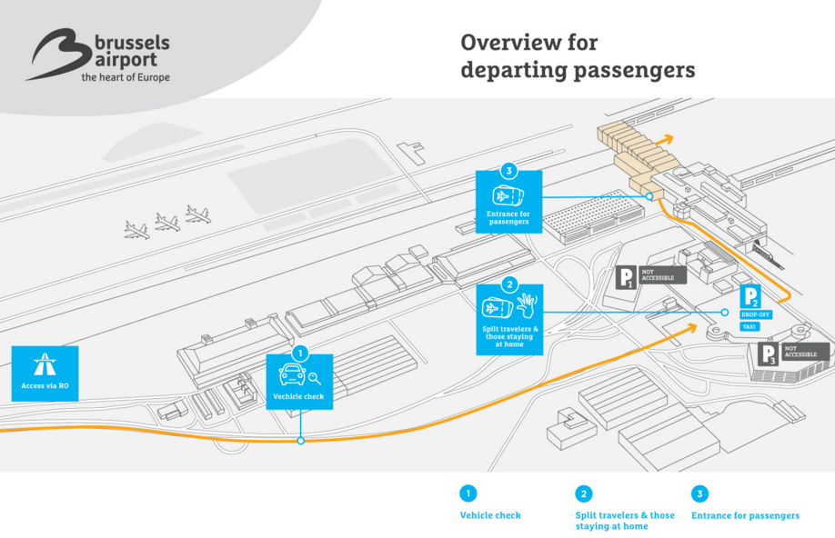 Brussels Airport overview for departing passengers