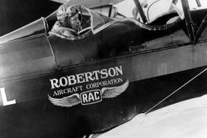 Charles Lindbergh at the commands of a Robertson Aircraft Corporation aircraft. (American Airlines)
