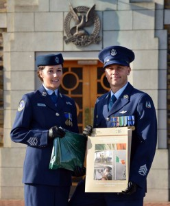 E06-Husband & Wife Sgts Walsh, part of the Air Corps' Flags to Schools team.