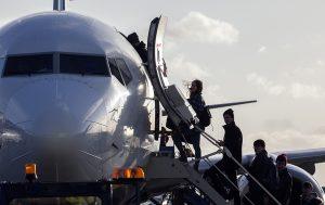 Dublin passengers boarding aircraft