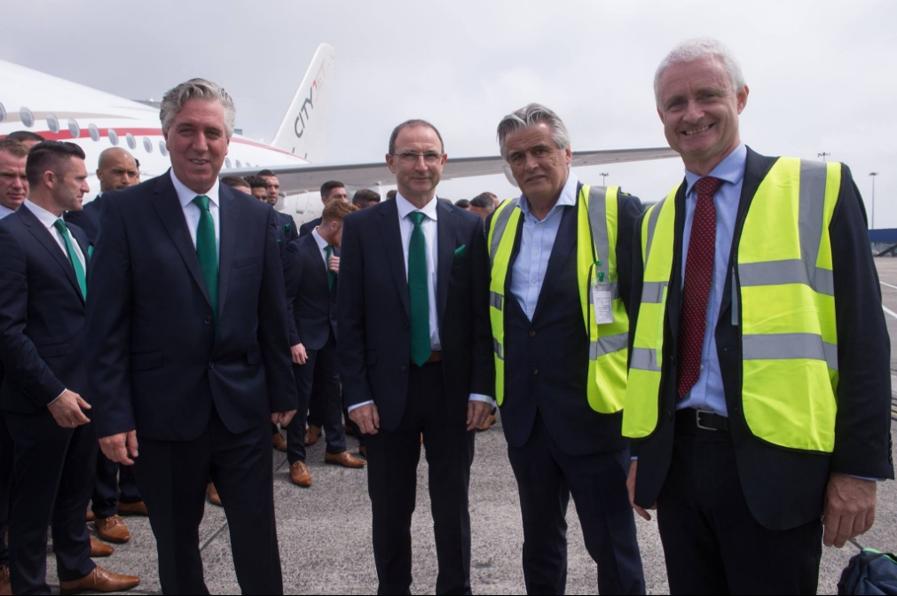 John Delaney & Martin O'Neill with Pat Byrne CityJet's Executive Chairman & Cathal O'Connell Chief Commercial Officer