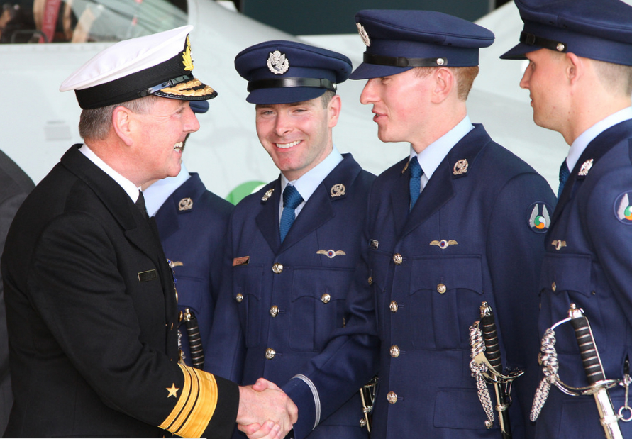 Air Corps 32nd Cadet Class Vice-Admiral Mark Mellett Defence Forces Chief of Staff congratulates Christpher Jevens