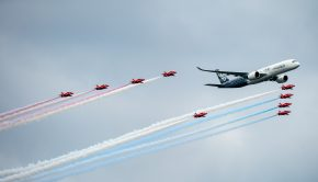Airbus A350 XWB with Red Arrows at Farnborough (P. Pigetre - Airbus Industrie)