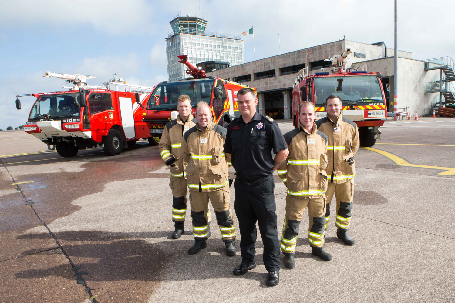 "DKANE 15082016 REPRO FREE Crew Commander Ted Brady, Fire Fighter Alan Crowley, Chief Fire Officer Jim Johnson, Fire Fighter Michael Hegarty and Fire Fighter Stephen O'Mahony to mark the 10th birthday of new terminal in Cork Airport. Cork Airport celebrated the 10th birthday of its terminal building today. Since it first opened in August 2006, over 25 million people have travelled through Cork Airport's ""state of the art"" terminal and facilities. Niall MacCarthy, Managing Director at Cork Airport said: ""We wanted to mark the important occasion of the 10th anniversary of the new terminal building. It is a wonderful facility for the South of Ireland and still looks new even after the 10 years. This is a tribute to the foresight of the designers and the quality of the maintenance programme and staff since its opening 10 years ago. Pic Darragh Kane"